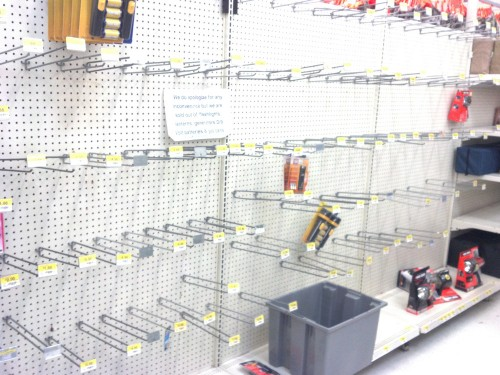 Flashlight section empty a week after Hurricane Sandy
