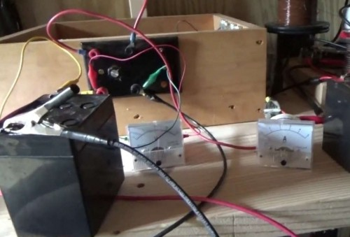 Bedini motor charging batteries while running LED lights, current drops while charging increases