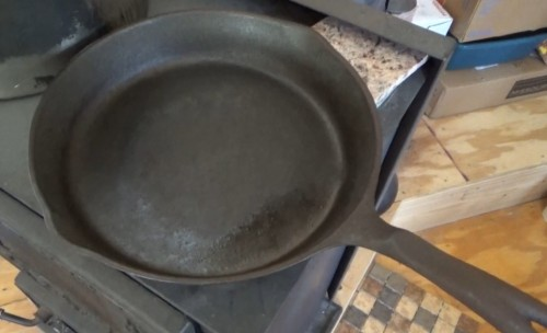 Cast iron frying pan fully restored and seasoned