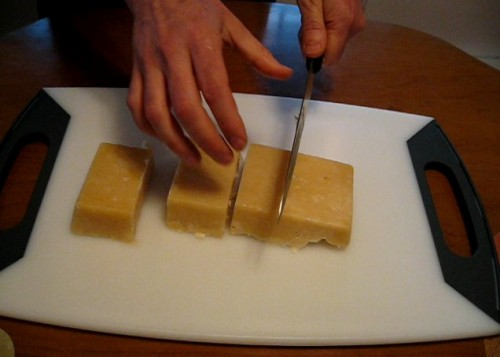 Cutting homemade soap blocks into bars