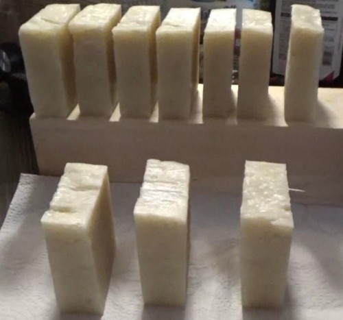 Finished and cut bars of soap