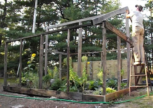 Framing in our greenhouse for winter herbs and greens