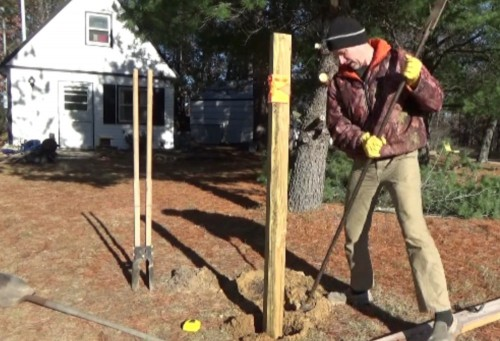 Setting solar panel rack posts in the ground