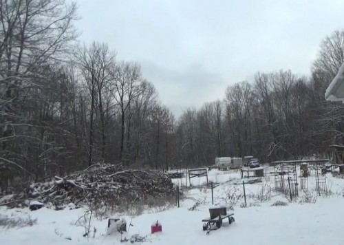 Wet snowy day at the off grid homestead