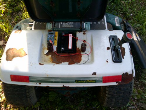 Desulfated lawn mower battery in riding mower