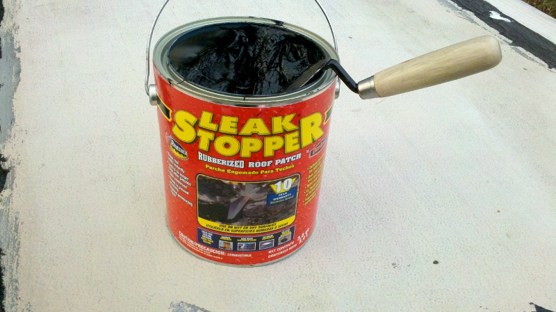 Use rubberized leak stopper to repair camper roof