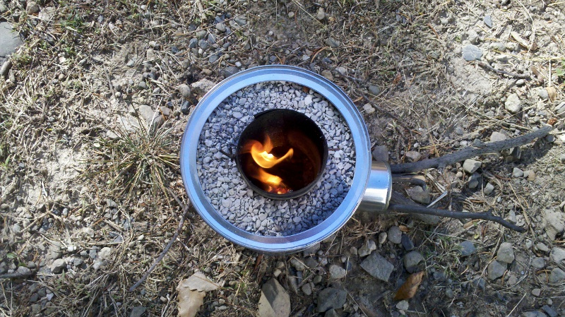 Using a home made rocket stove