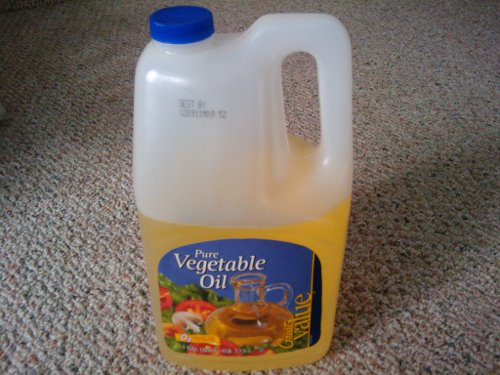 Cheap vegetable oil for the lamp.