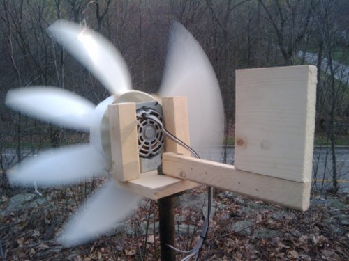 DIY Box Fan windmill running.